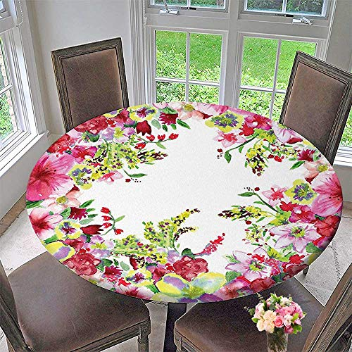 Mikihome The Round Table Cloth Flower Fresh Curly Willow and Dahlia Buds Pollen Print Pink Green for Birthday Party, Graduation Party 35.5