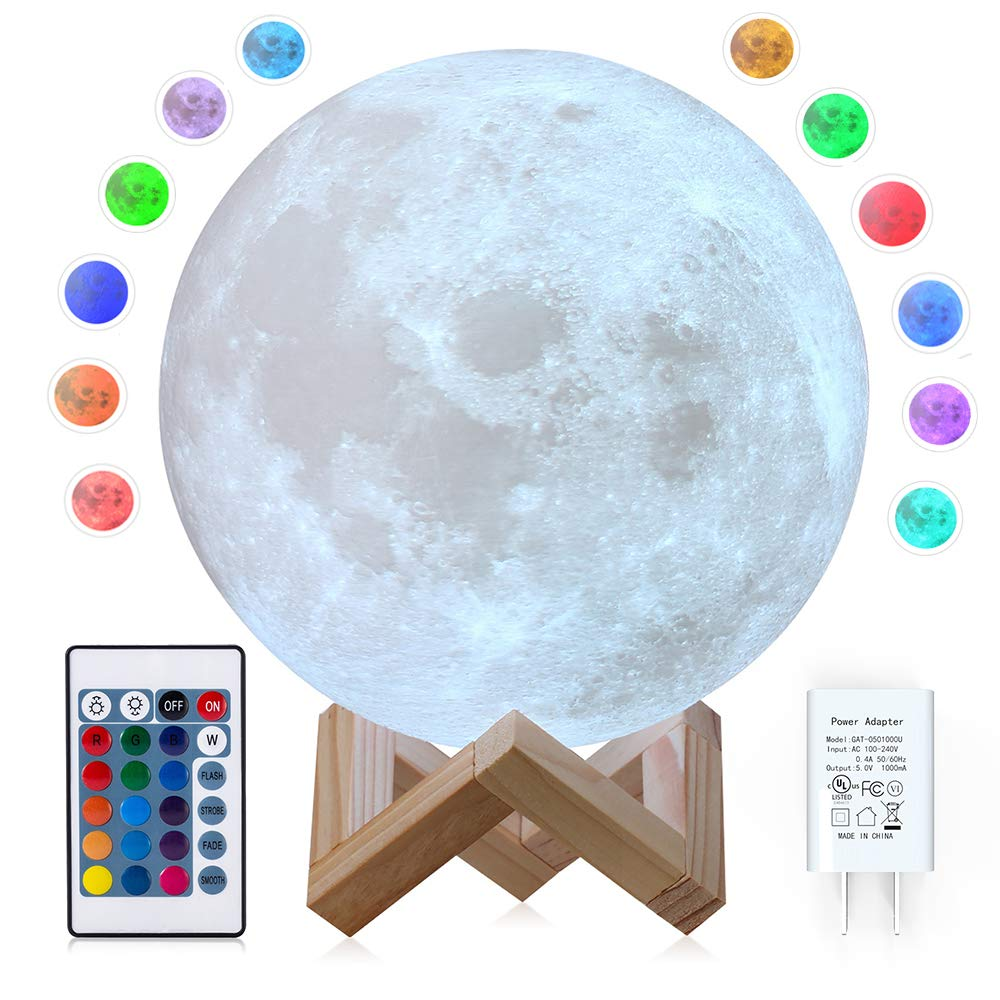 CPLA Moon Lamp Moon Light 3D Seamless Moon Lamp Large Upgrade 16 Color Moon Night Light with Stand Globe Cool Lamp, Adapter Included Desk Lamp【7.1 inch 16 Color】 Adapter Included Desk Lamp【7.1 inch 16 Color】 V2-16RGB-18