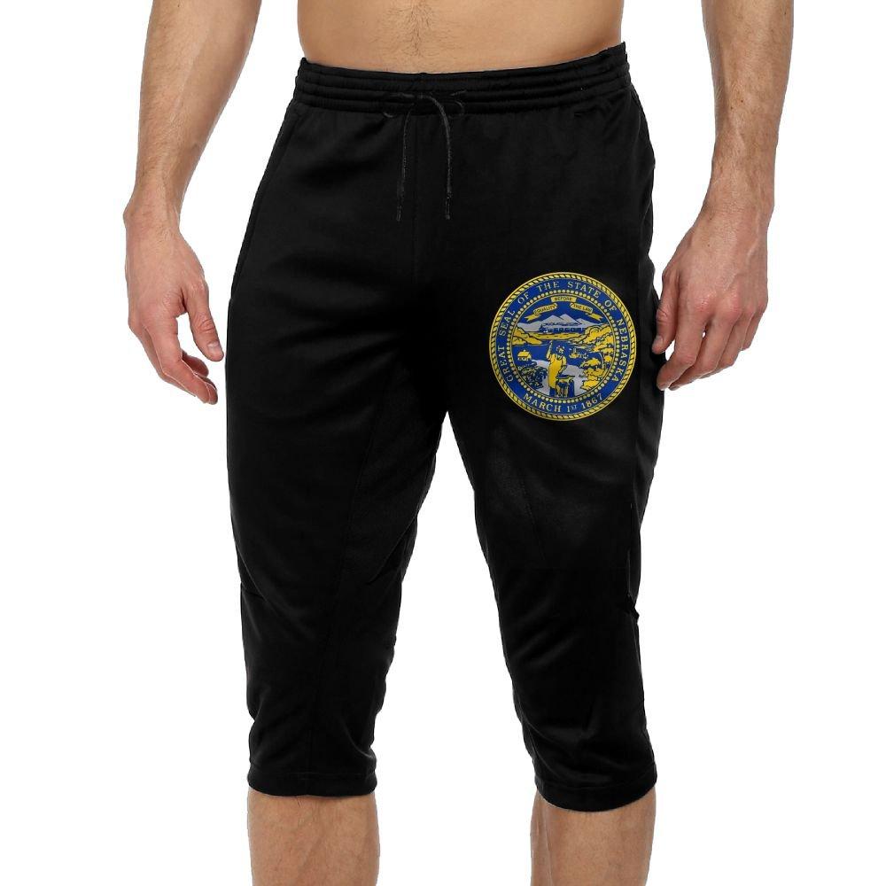 Men's Novelty Performance Nebraska State Flag Print Crop Sweatpant Capri Pants Drawstring Knee Pant Black Small