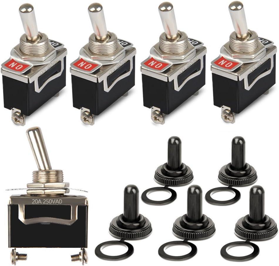 OFNMY 5pcs Interruptor Basculante KN3-101 de Metal con Tapa 2 pin 15V 20A para Luz de Salpicadero de Coche con Tapa Impermeable