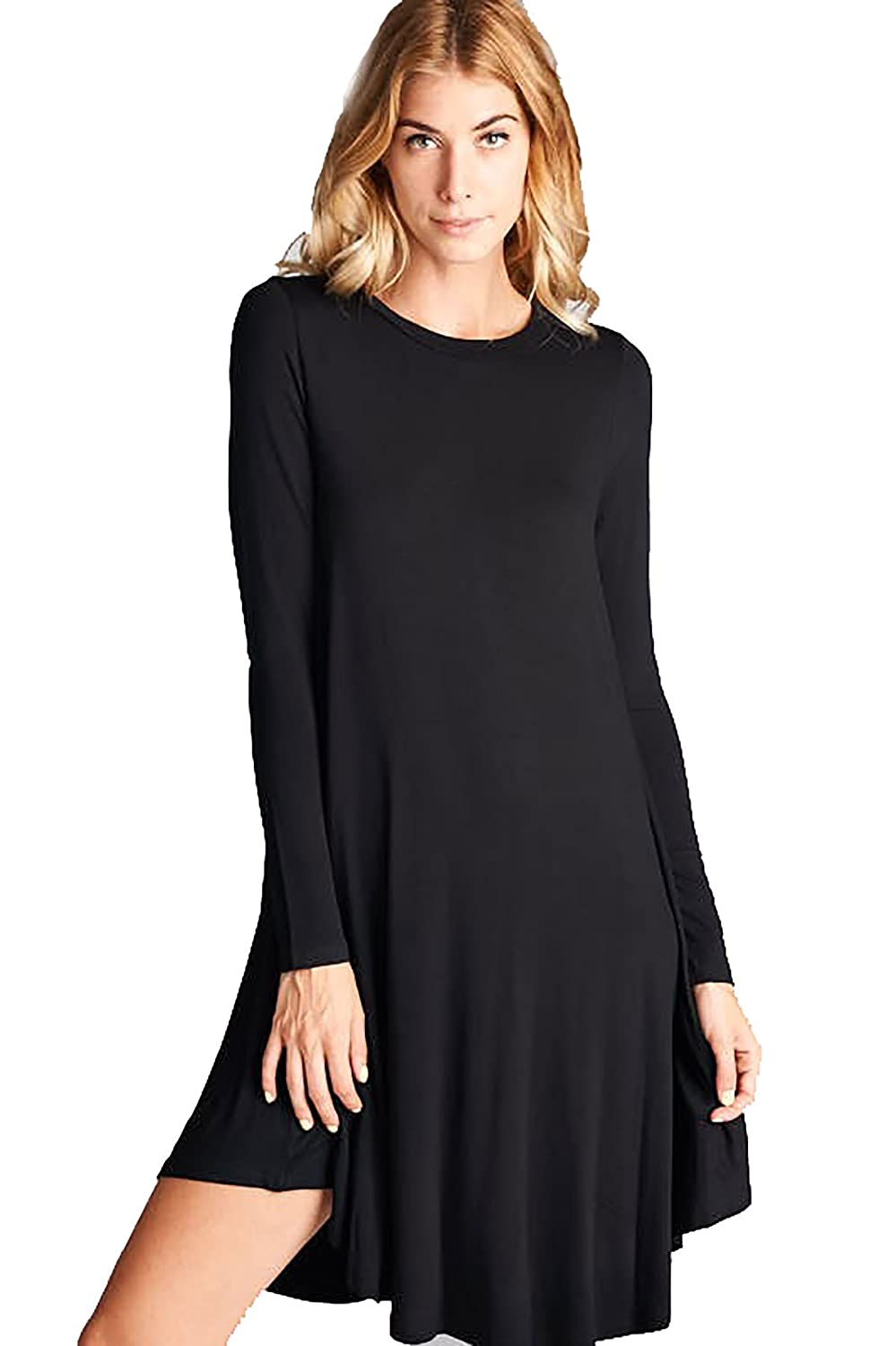 cfdfb49df759 Women's Solid Long Sleeves Rounded Neckline and Hem Flowy Dress Jersey  Tunic D5224 at Amazon Women's Clothing store: