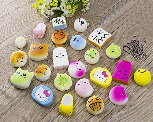EVINIS 20Pcs Jumbo Medium Mini Random Squishy Soft Panda/Bread/Cake/Buns Phone Straps (20 Pcs) by EVINIS (Image #4)