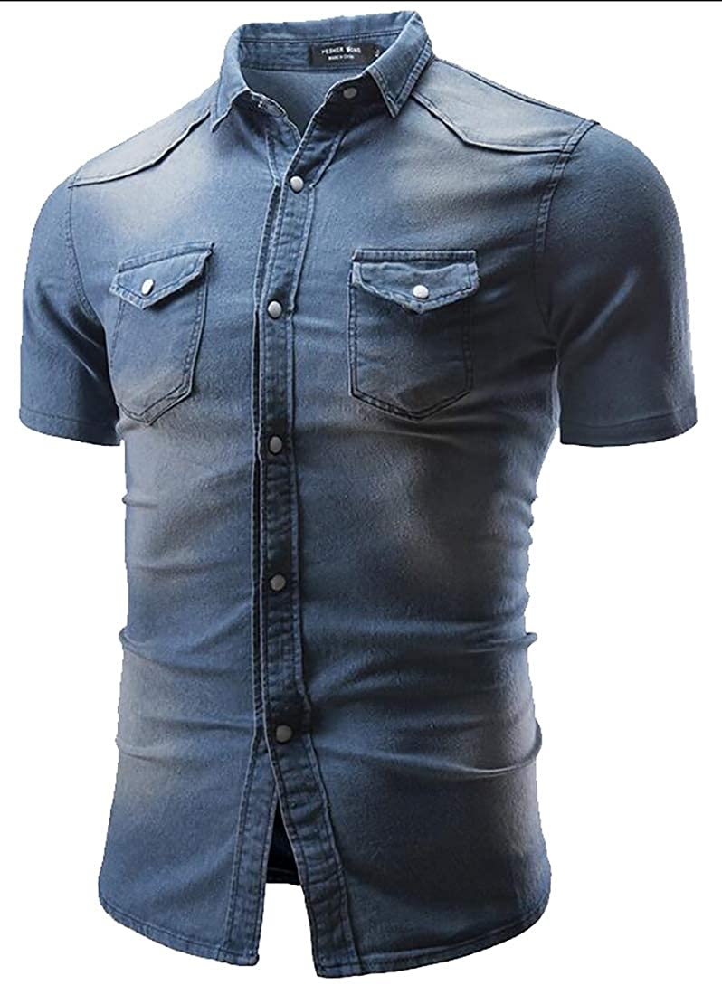 Mens Denim Solid Fashion Short Sleeve Slim Button Down Dress Shirts