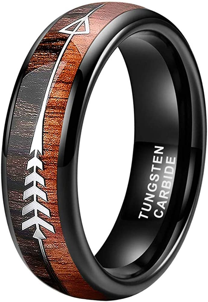 BestTungsten 6mm 8mm Silver/Black/Rose Gold Tungsten Rings for Men Women Wedding Bands Koa Wood Arrow Inlay Domed Plished Shiny Comfort Fit