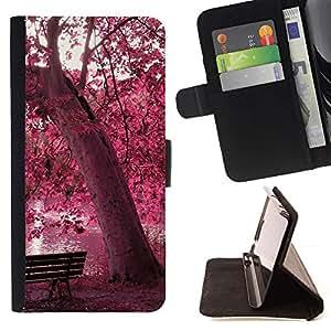 Momo Phone Case / Flip Funda de Cuero Case Cover - Red Forrest Park;;;;;;;; - Sony Xperia Z5 5.2 Inch (Not for Z5 Premium 5.5 Inch)