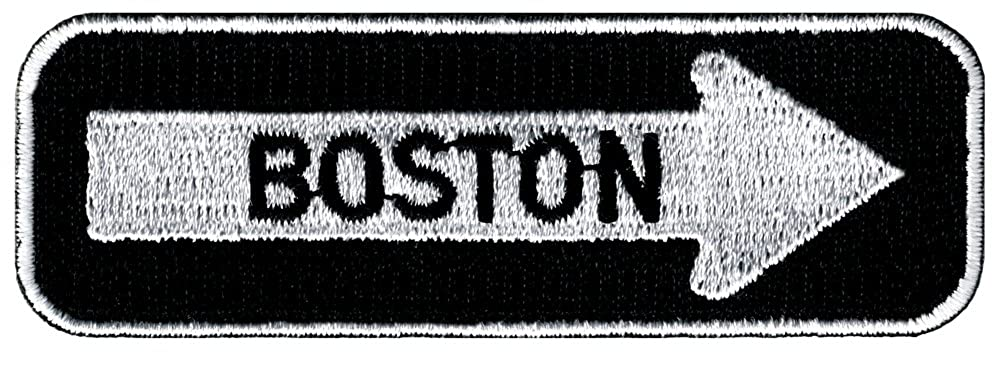 One Way Sign Boston Massachusetts Embroidered Patch Iron-On Road Biker CYP-01720