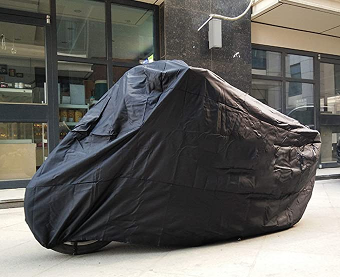 J/&C 115x43x55Inhces Motorcycle Cover Waterproof Dust-Proof Outdoor Rain UV Protector Motorbike Covers for Harley Davidson BMW Black