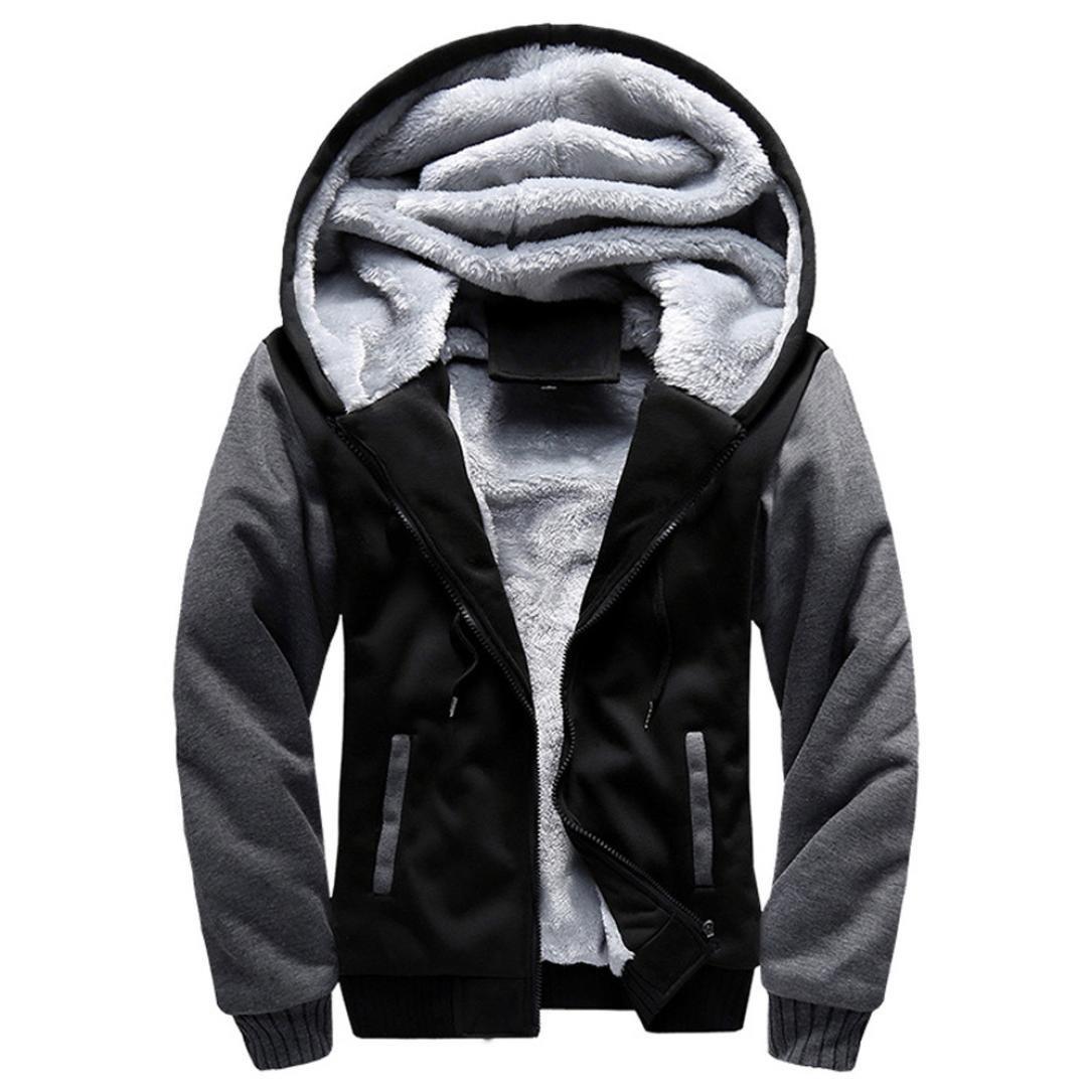 Amlaiworld Chaqueta con cremallera de lana cálida de invierno de hombre Pullover abrigo Cárdigan Outwear -