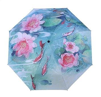XINLE Sombrilla paraguas personalizados para damas, creativos, pintura en tinta, patrón impreso,