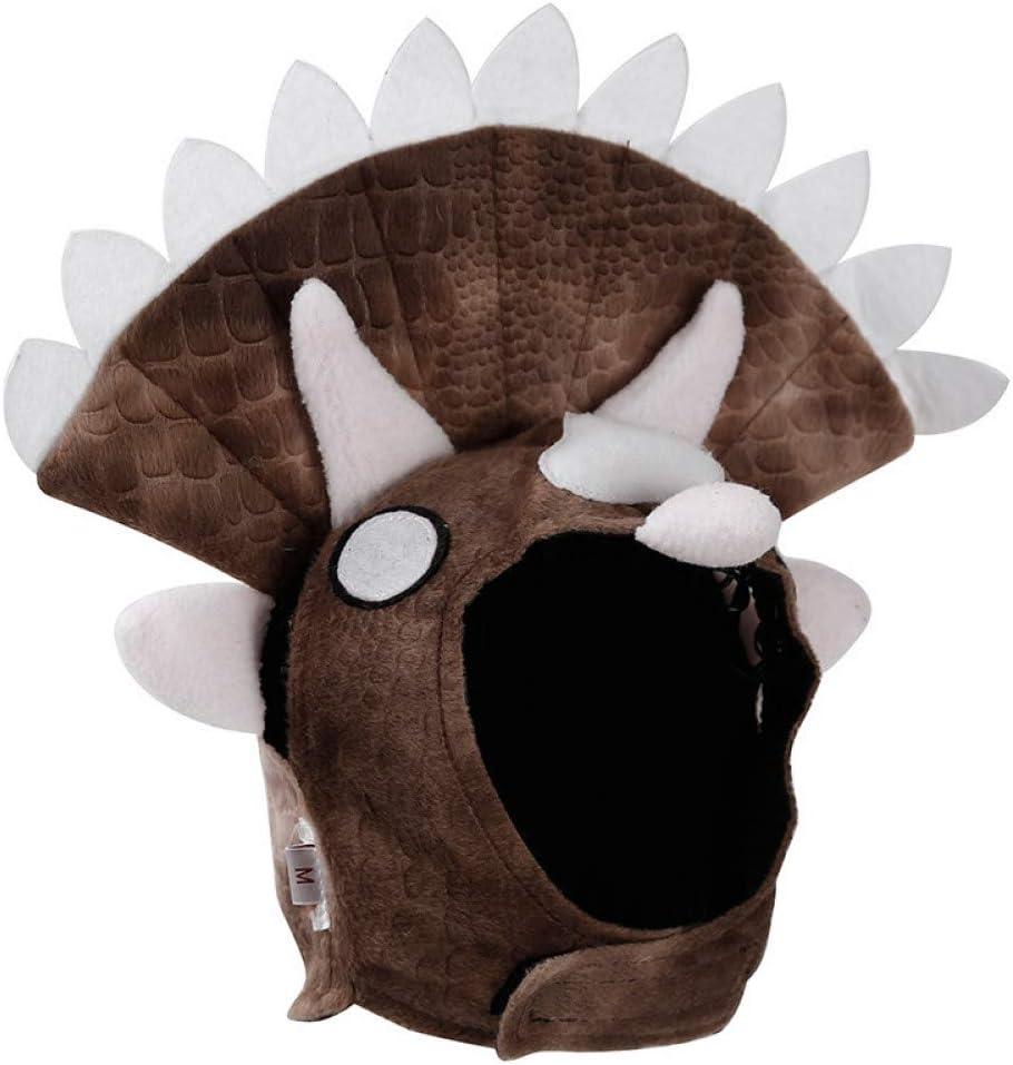 LCWYP Mascota Halloween 1 Piezas De Disfraces De Fiesta De Dinosaurio Triceratops De Halloween para Bulldog Pugs Invierno Cálido Polar Perro Divertido Gato Mascota Sombrero Gorra