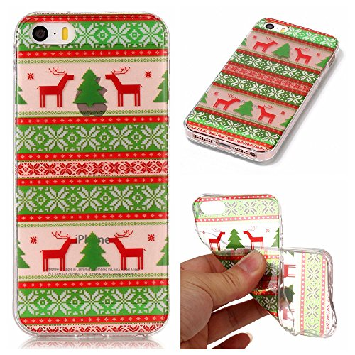 iPhone 5C Case, [Christmas] Series Ultra Thin Painting Case Transparent Soft TPU Xmas Phone Anti-Scratch Protective Cases Cover for Apple iPhone5C-E