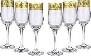 Crystal Gold Rimmed Champagne Flutes, Wine Glasses 6-pc Set Greek Key 24K Gold