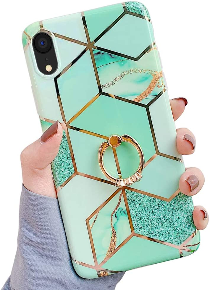 Qokey Compatible with iPhone XR Case,Marble Case Cute Fashion for Men Women Girls with 360 Degree Rotating Ring Kickstand Soft TPU Shockproof Cover Designed for iPhone XR 6.1