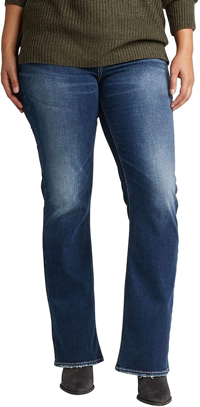 Women/'s Plus SZ Suki Slim Mid Rise Boot Cut Silver Jeans Co Choose SZ//Color