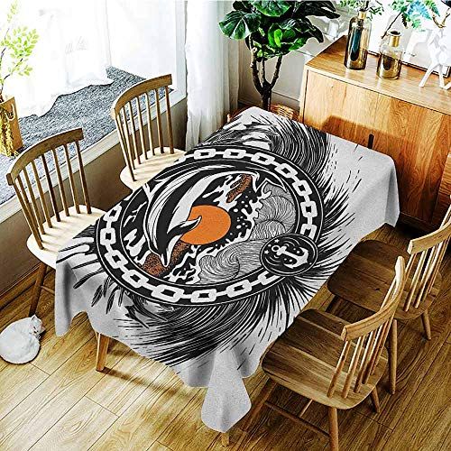 AndyTours Large Rectangular Tablecloth,Dolphin,Dinner Picnic Table Cloth Home Decoration,W60x84L Black Orange White
