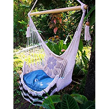 Hammock Chair Crochet With Beige And Black Edge/ Indoor Outdoor Chair  Hammock/ Hanging Chair