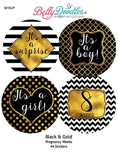 Belly Doodles 44 Weekly Pregnancy Stickers Black & Gold 3.94inch