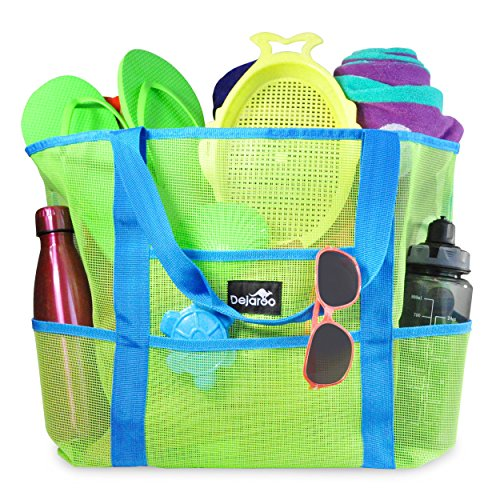 Dejaroo Mesh Beach Bag – Toy Tote Bag – Large Lightweight Market, Grocery & Picnic Tote with Oversized Pockets (Green with Aqua Handles) by Dejaroo LLC