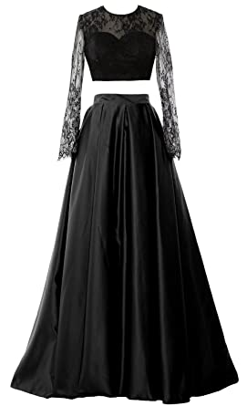 MACloth Women Lace Formal Party Evening Gown Two Piece Long Sleeve Prom Dress (UK6,