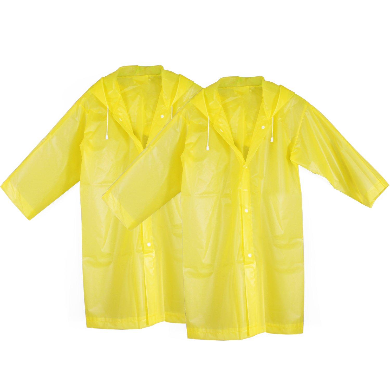 KEESIN Kids perchero de pared de lluvia impermeable Poncho de lluvia al aire libre impermeable chaqueta con capucha y mangas para niños de 2 unidades, amarillo