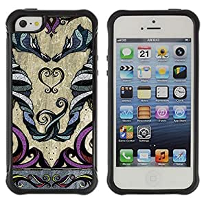 Hybrid Anti-Shock Defend Case for Apple iPhone 5 5S / Beautiful Zodiac Twins Sign