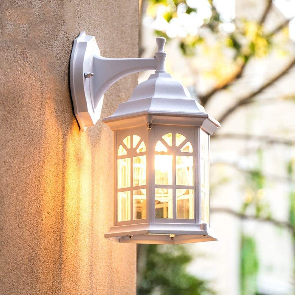 Amerikanische einfache Outdoor wasserdicht, aus Aluminium in Glas Wandleuchte, Terrasse wand Etage Villa in Camps Beleuchtung Dekoration Laterne Lampen (Farbe  Weiß inkl. Leuchtmittel)