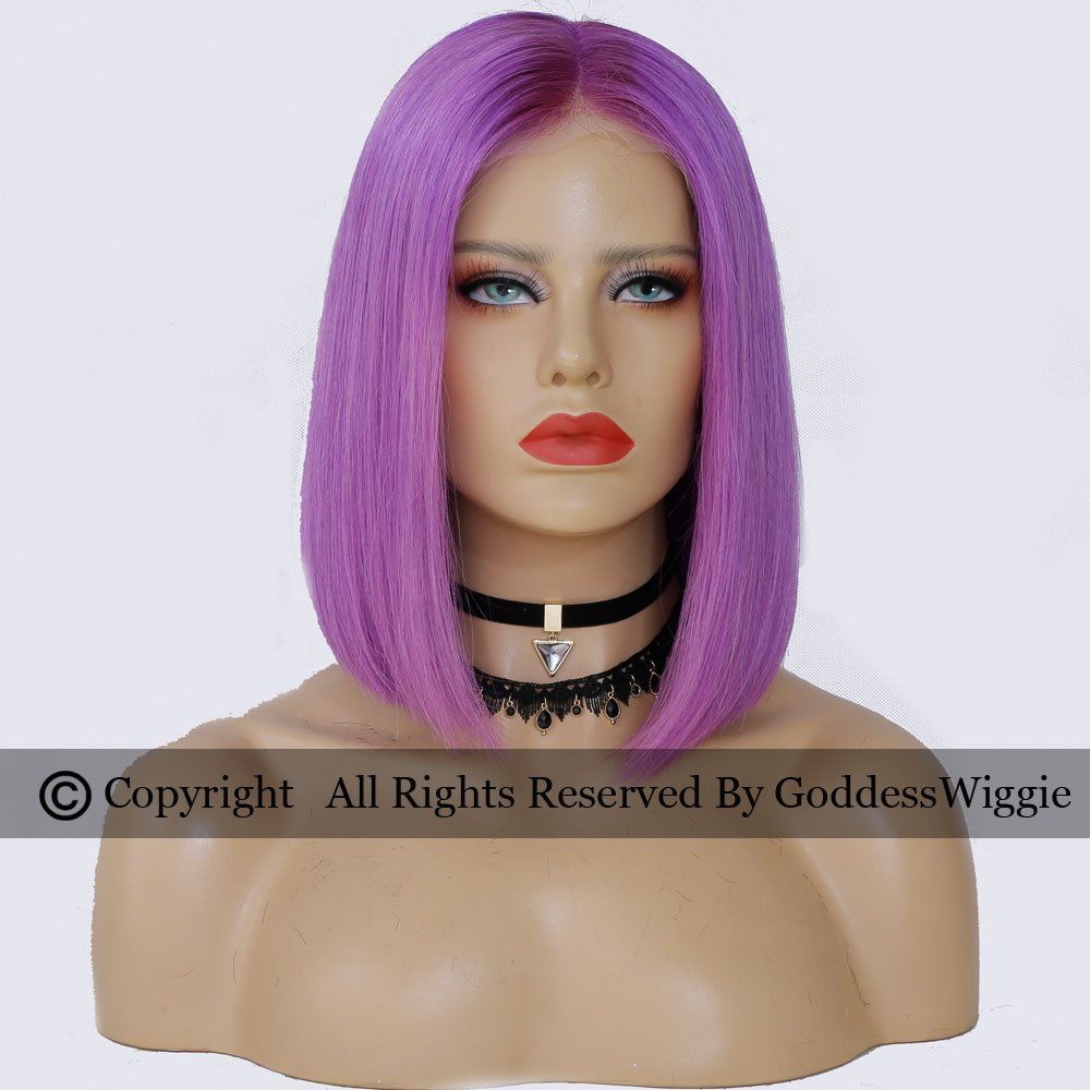 Pink Wigs Human Hair Lace Front Bob Wigs With Baby Hair Human Virgin Hair Colour Wigs For Woman (10inch 180density)