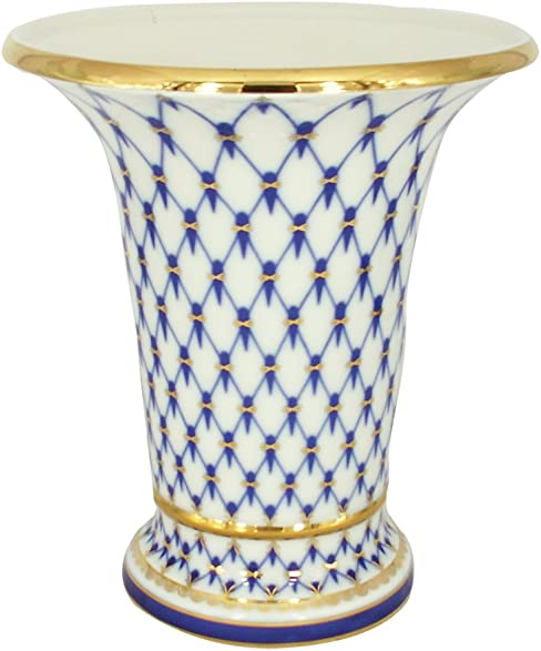 Lomonosov Porcelain Cobalt Net Decorative Vase Empire Style 22 Karat Gold