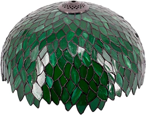 Tiffany Lamp Shade Replacement W16H7 Inch Green Stained Glass Wisteria Lampshade For Table Lamps FLoor Lamp Ceiling Fixture 3 Hooks Inside Pendant Hanging Light S523 WERFACTORY Home Office Decoration