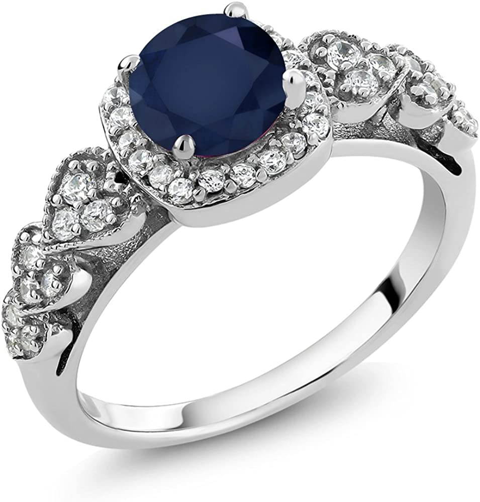Gem Stone King 925 Sterling Silver Blue Sapphire Women Engagement Ring (1.32 Cttw, Round Gemstone Birthstone, Available 5,6,7,8,9)