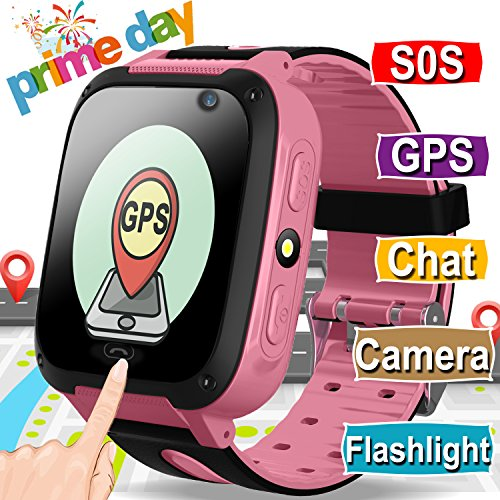 Sim Touch Cell Phone - Kids Smart Watch Smart Wrist Watch Phone for 3-12 Year Old with GPS Tracker SOS Camera Sim Card Slot Game Touch Screen Smartwatch Educational Toys Prime Deals for Boys Girls (Pink)