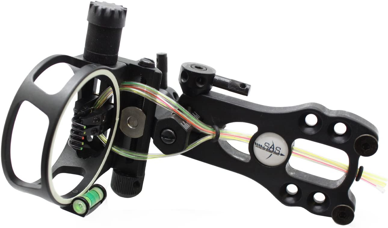 Southland Archery Supply SAS Aluminum 5 Pins .019 Fiber Optic Tool-Less Bow Sight with Micro Adjustments and LED Light Black
