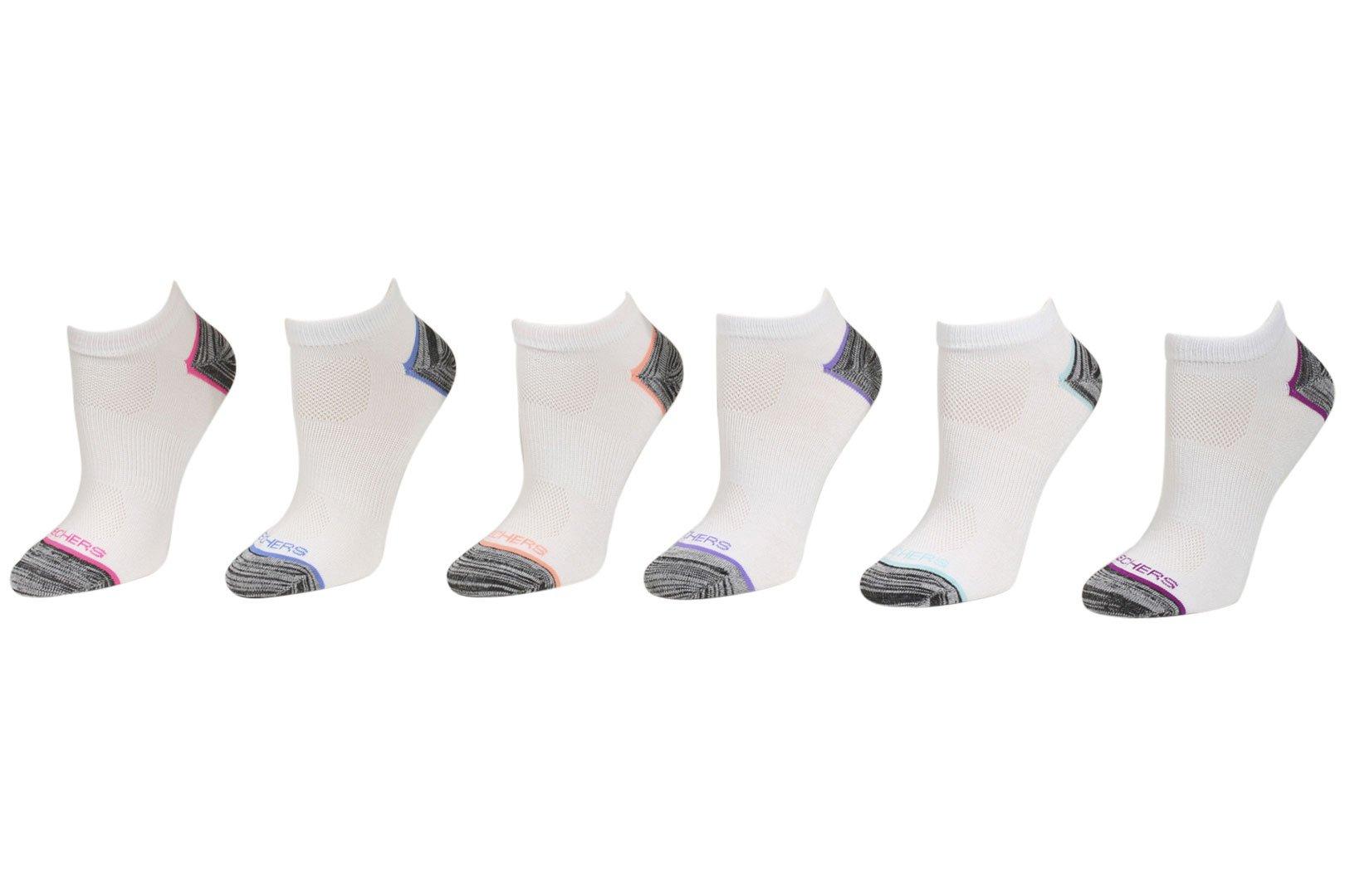 Skechers Active 6-Pairs White/Black Lightweight Low Cut Socks Sz 9-11 Fits 5-9.5