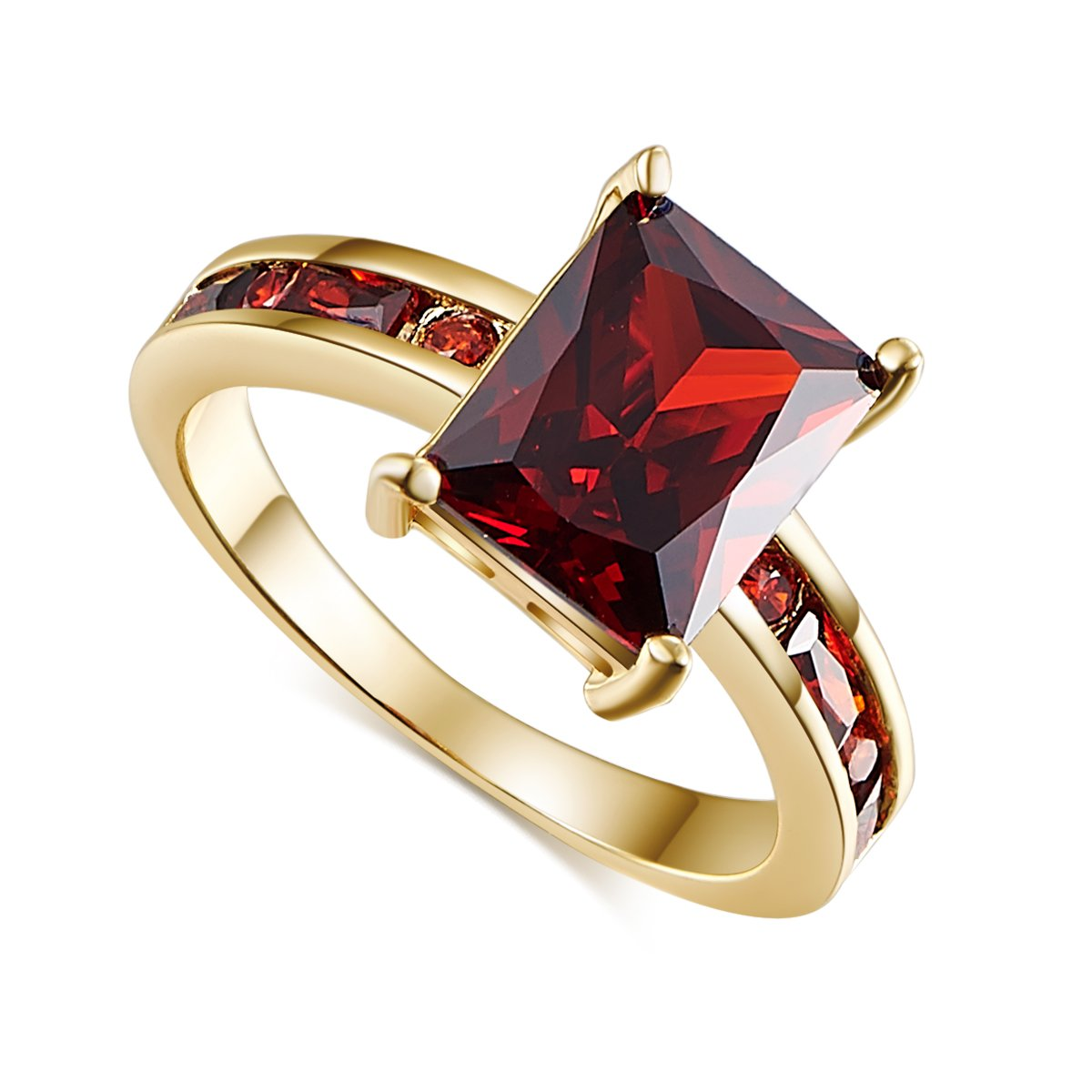 Psiroy Yellow Gold Plated Radiant Cut Created Garnet Anniversary Ring Size 9