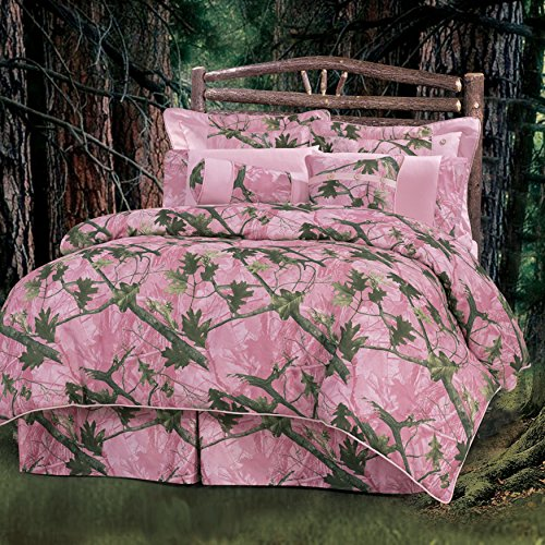 7 Piece Girls Pink Camo Queen Comforter Set, Hunting Themed Bedding Camouflage Woods Leaves Branches Forest Lodge Southwest Outdoors Country Hunt Pattern, Polyester by OS