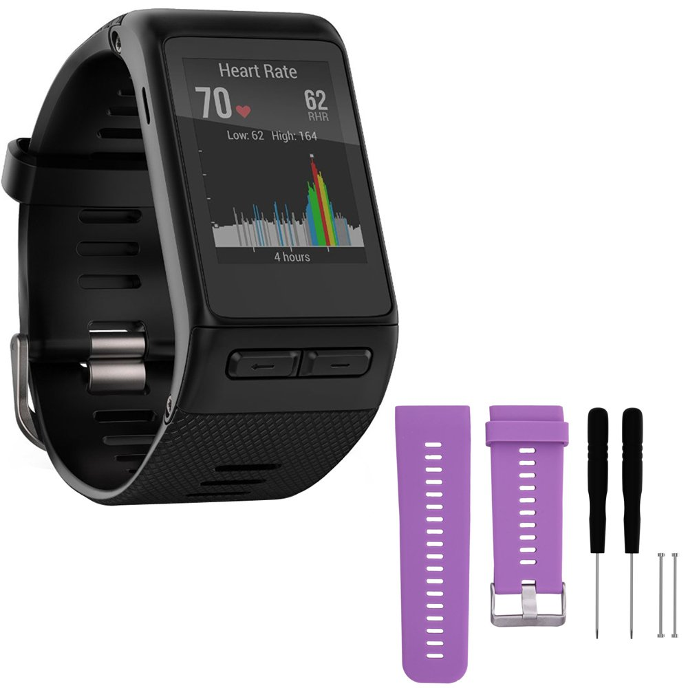 Garmin vivoactive HR GPS Smartwatch - X-Large Fit - Black (010-01605-04) with General Brand Silicone Band Strap + Tools for Garmin Vivoactive HR Sport Watch (Purple)