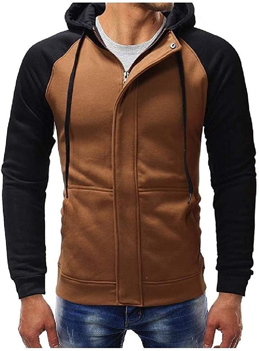 hower Mens with Pockets Cardigan Hood Patched Hit Color Outwear Sweatshirts Dark Grey X-Large
