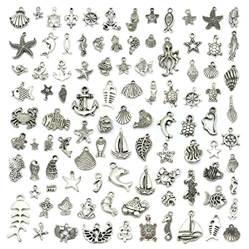 (JIALEEY Wholesale 100 Pieces Mix Antique Silver Charm Pendant Collection DIY Jewelry Supply for Necklace Bracelet Dangle Jewelry Making and Crafting, Sea Animals Styles)