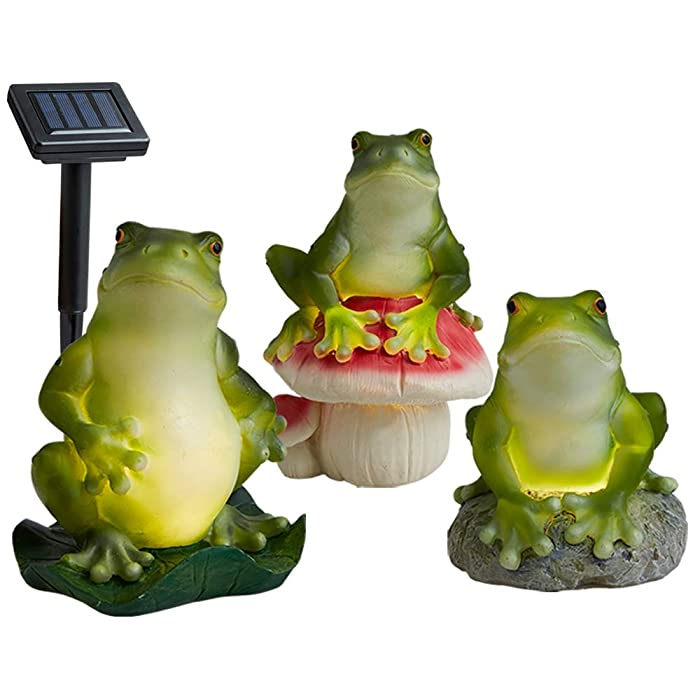 A Set of 3 Solar Frog Lights, Solar Garden Lights Outdoor, Frogs Solar Powered LED Lights for Lawn Yard Decorations and Gift