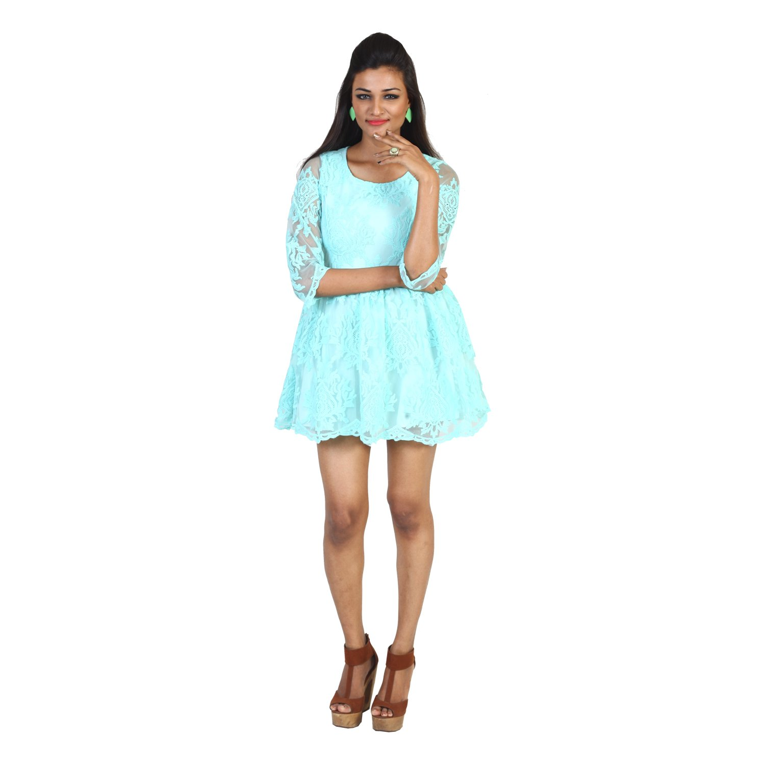 Nuts Lace Dress Sea Blue Colour Small Size Amazonin