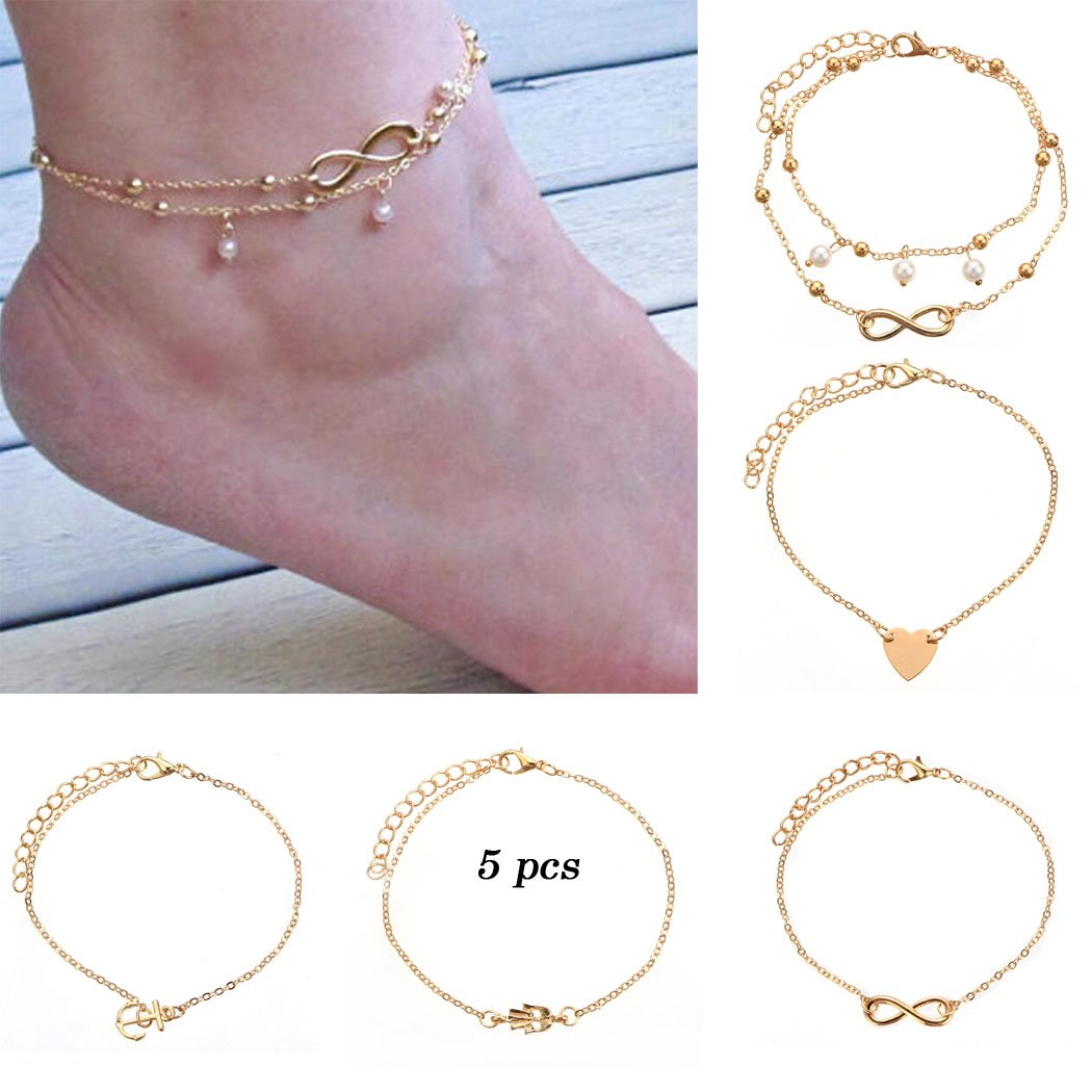 Jovono Bohemian Anklets Set Peach Heart Anchor Head Pearl Anklet Beach Foot Chain Bracelets for Women and Girls(5 PCS) (Gold)