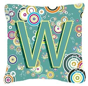 Letra W Círculo Círculo verde azulado inicial alfabeto tela de lona almohada decorativa–CJ2015-WPW1818