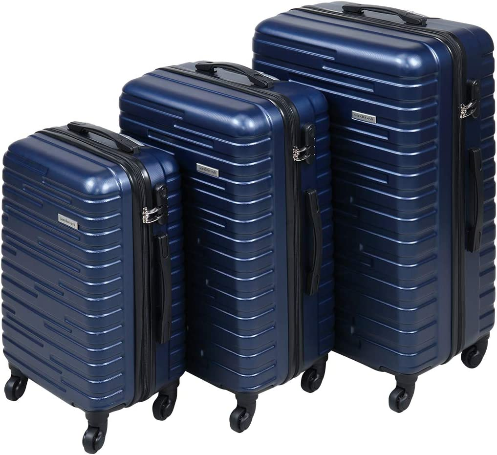 3 Piece Luggage Set Travel Suitcase w Spinner Wheels Hardshell Lightweight Coded Lock, Blue, 20in24in28in