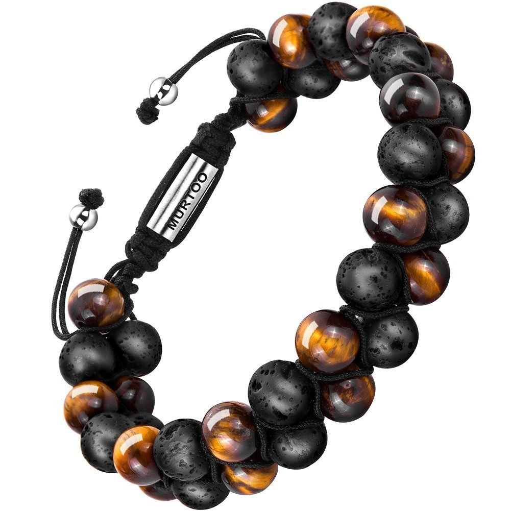 murtoo Essential Oil Bracelet Adjustable Beads Bracelet Lava Rock Stone Bracelet Perfume Diffuser Bracelet, 7''-9'' Gift (tiger eye 8mm)