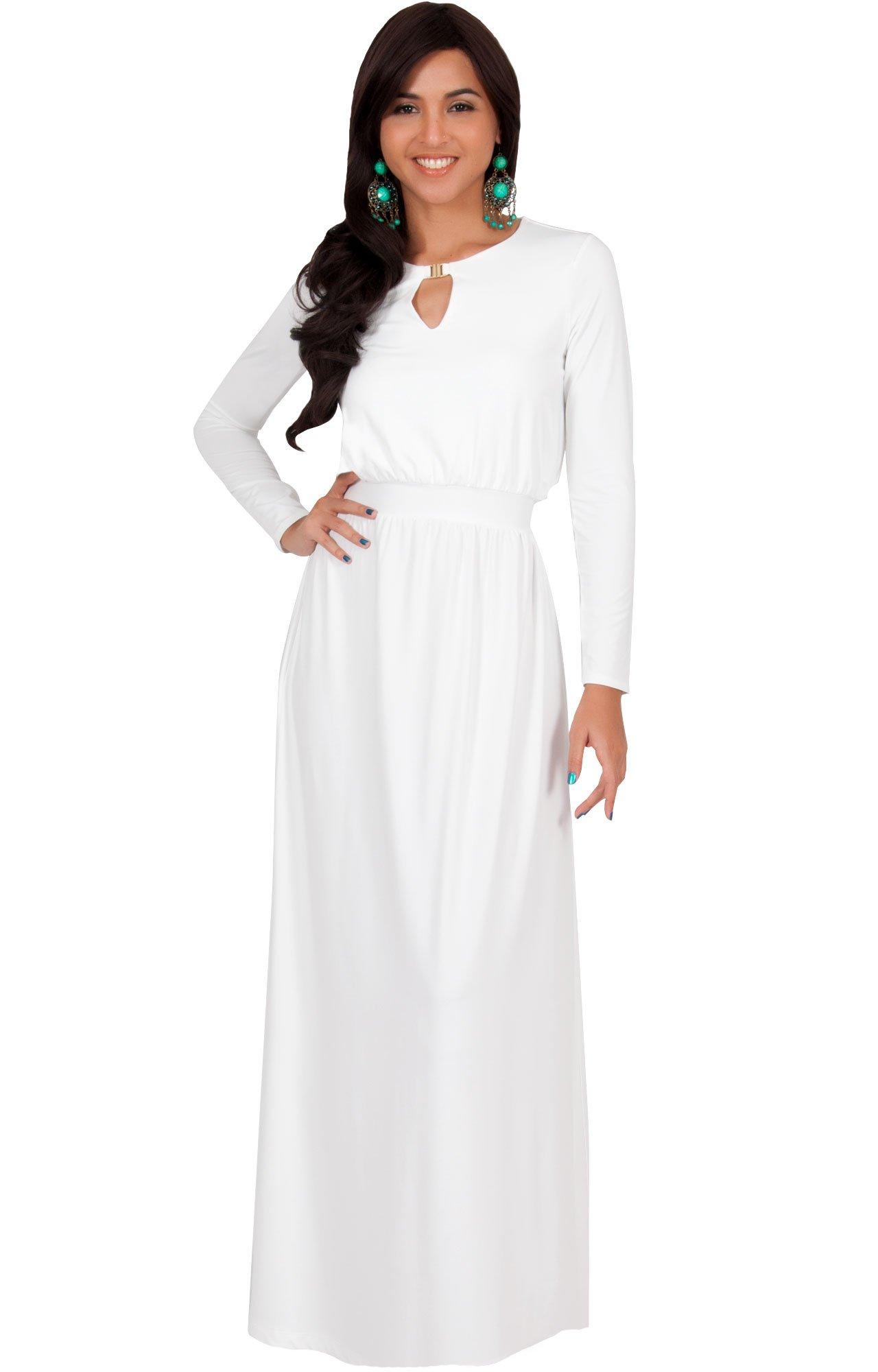 79f3b66b04 KOH KOH Petite Womens Long Sleeve Sleeves Modest Flowy Fall Winter Formal  Empire Waist Evening Day Work Casual Abaya Muslim Wedding Gown Gowns Maxi  Dress ...