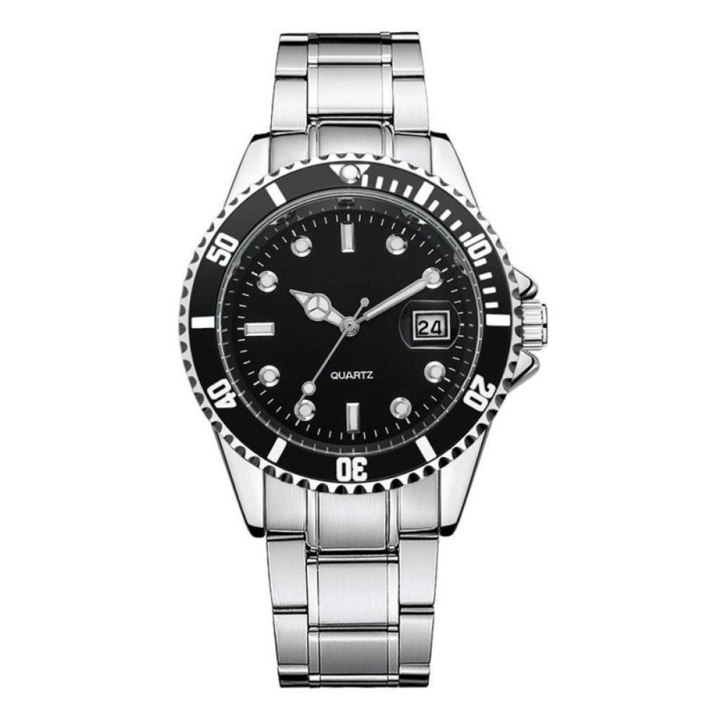 Han Shi Men Fashion Military Watch Stainless Steel Sport Quartz Analog Wristwatch (Black, M)