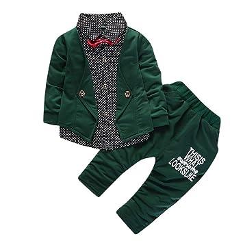 2c86c13c5018 Amazon.com  Baby Boy 2 Piece Bow Long Sleeve Shirt Coat Top+Letter ...