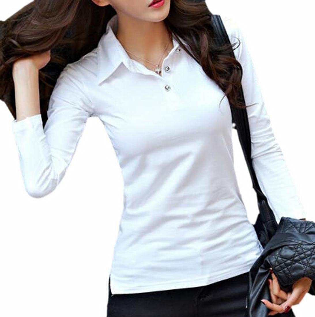 Amazon Jaycargogo Womens Polo Collar Shirt Casual Blouse Top