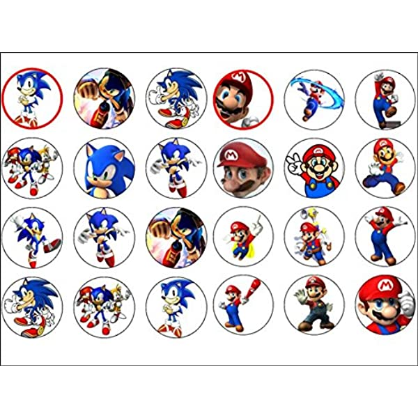 Rice Paper Cupcake Topper 24 x Super Mario Edible Icing /& Wafer