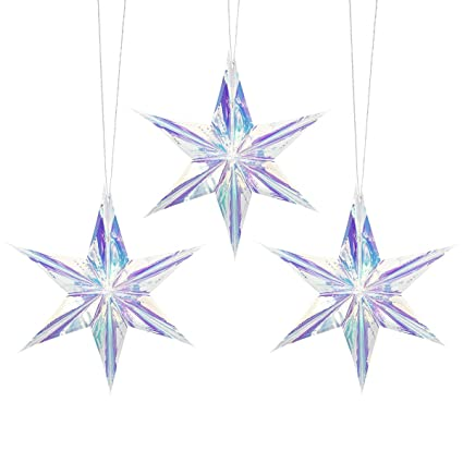 Amazon Com Nicrolandee 3pcs Iridescent Ornament Star Hanging
